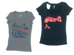 2 Womens MLB Atlanta Braves Baseball T-Shirts Baseball Gray