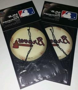 2x Mlb Atlanta Braves Baseball Pine Scent Air Freshener