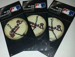 3x Mlb Atlanta Braves Baseball Pine Scent Air Freshener