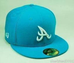 NEW ERA 59Fifty Fitted Baseball Hat Atlanta Braves Blue Jewe