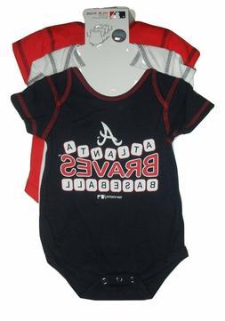 Atlanta Braves 3 Pack Creeper Set Infant Romper Baby Sizes