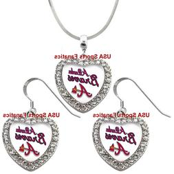 Atlanta Braves 925 Necklace / Earrings or Set Team Heart Wit