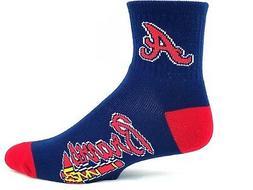 Atlanta Braves Adult Deuce Quarter Socks Navy with Red Heel
