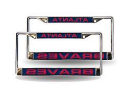 Atlanta Braves Blue MLB  Chrome Metal Laser Cut License Plat