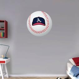 "Atlanta Braves Cap MLB Logo Ball Art Wall Decor Sticker  12"""