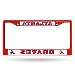 atlanta braves chrome license plate frame tag