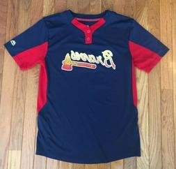 Atlanta Braves Majestic Cool Base Blue & Red Jersey - Youth