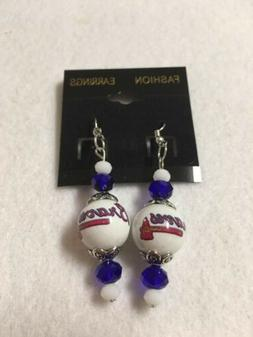 ATLANTA BRAVES EARRINGS GLASS BEADED BASEBALL JEWELRY ORNAME