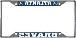 Atlanta Braves EZ View Des Chrome Frame Metal License Plate