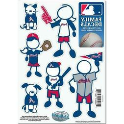 Atlanta Braves Family Decals 6 Pack  Small Auto Car Stickers
