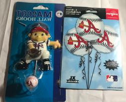 Atlanta Braves Fan Pack Lot. Mascot Wall Hook And 3 Foil Bal