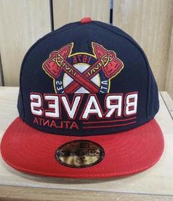NEW ERA ATLANTA BRAVES FITTED HAT BASEBALL BLACK RED CAP 59F