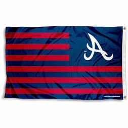 ATLANTA BRAVES FLAG 3'X5' MLB STRIPED BANNER: FAST FREE SHIP