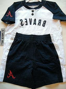 ATLANTA BRAVES KIDS SIZE 2 TODDLER  2-PIECE SET WITH BUTTON