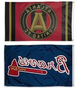 Atlanta Braves MLB & Atlanta United Soccer Sports 3x5 Flags