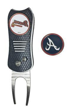 Atlanta Braves MLB Golf Ball Marker + Switchblade Divot Repa