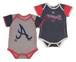 """Majestic Atlanta Braves MLB Infant """"Vintage Baby"""" 2-Pack Bod"""