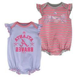 "Atlanta Braves MLB Majestic Infant ""Team Sparkle"" 2 Pack Fri"