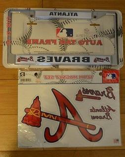 Atlanta Braves MLB Metal License Plate Frame & Team Magnet S