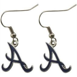 Atlanta Braves MLB Silver Dangle Earrings J Hook 3D Logo Set