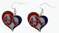 Atlanta Braves MLB Silver Swirl Heart Dangle Earrings Aminco