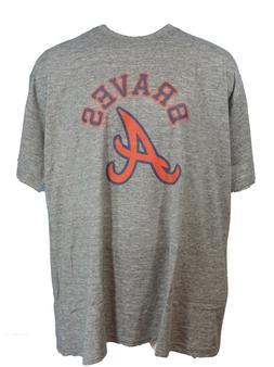 Atlanta Braves MLB Majestic Twisted Yarn T-Shirt, Grey, Mens