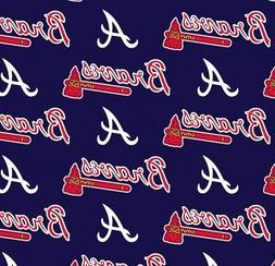 Atlanta Braves on Navy MLB Baseball Sports Team Cotton Fabri