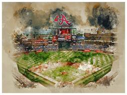 Atlanta Braves Poster Watercolor Art Print Man Cave Decor 12