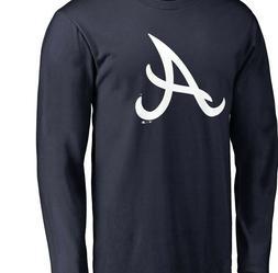 Atlanta Braves Primary Logo Long Sleeve T-Shirt - Navy Baseb