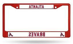 Atlanta Braves RED Chrome Frame Metal License Plate Tag Cove