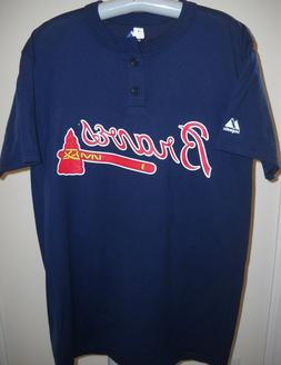 ATLANTA BRAVES TEAM/TOMAHAWK LOGO 2-BUTTON JERSEY-LIKE HENLE