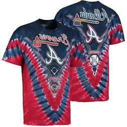 Atlanta Braves V Tie-Dye T-Shirt - Navy/Red