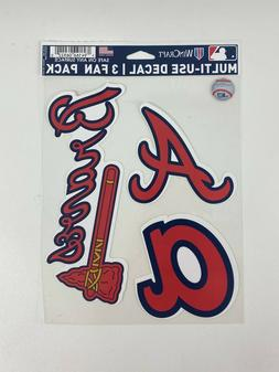 ATLANTA BRAVES Vinyl Decal / Sticker  3 Fan Pack