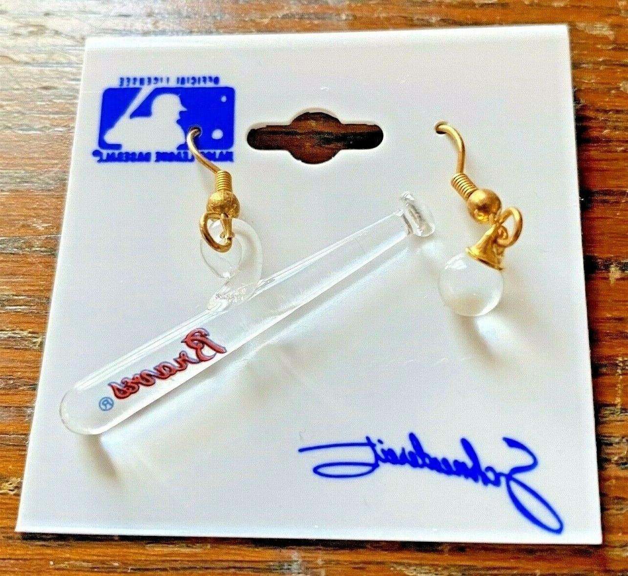 atlanta braves 1988 glass earrings baseball bat