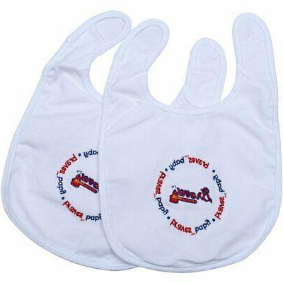 atlanta braves 2 pack baby bibs white