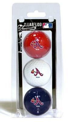 Atlanta Braves 3 Pack Golf Balls  MLB White Golfing Pk Ball