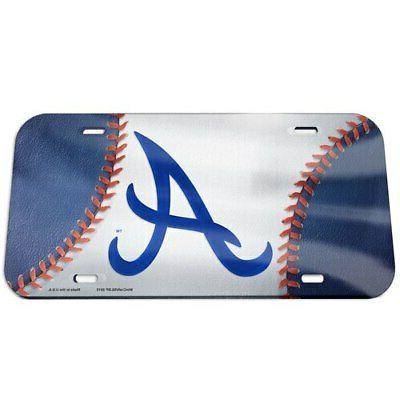 atlanta braves ball crystal mirror license plate