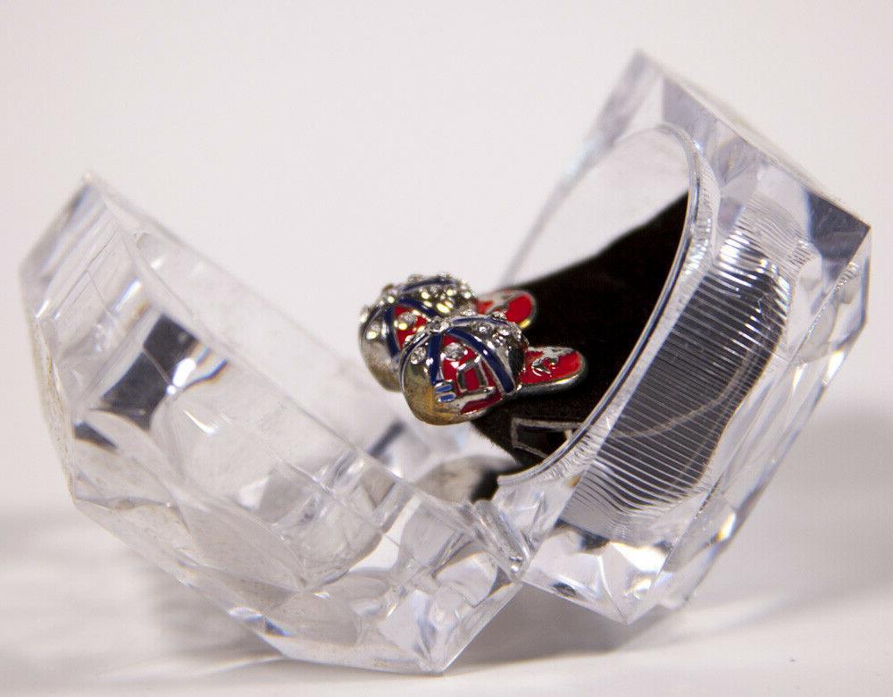 Atlanta Cap Hat Earrings Iced CZ w/Designer