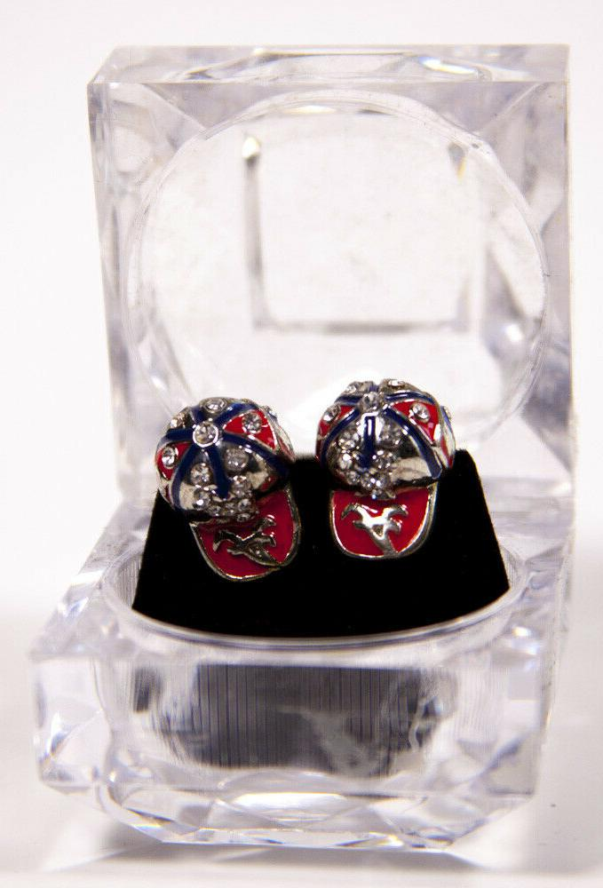 atlanta braves baseball cap hat earrings bling