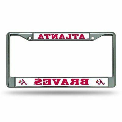 atlanta braves license plate frame chrome