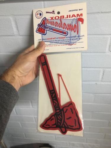 atlanta braves mailbox tomahawk sealed vintage baseball