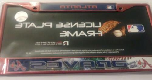atlanta braves metal license plate cover baseball