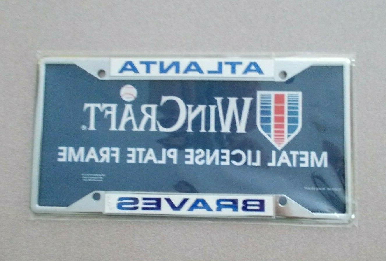 atlanta braves metal license plate frame mlb