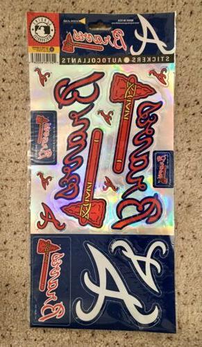 "MLB ""ATLANTA BRAVES"" Multi  Sticker / Decal Sheet ~ NEW ~ Au"