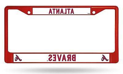 atlanta braves red chrome frame metal license