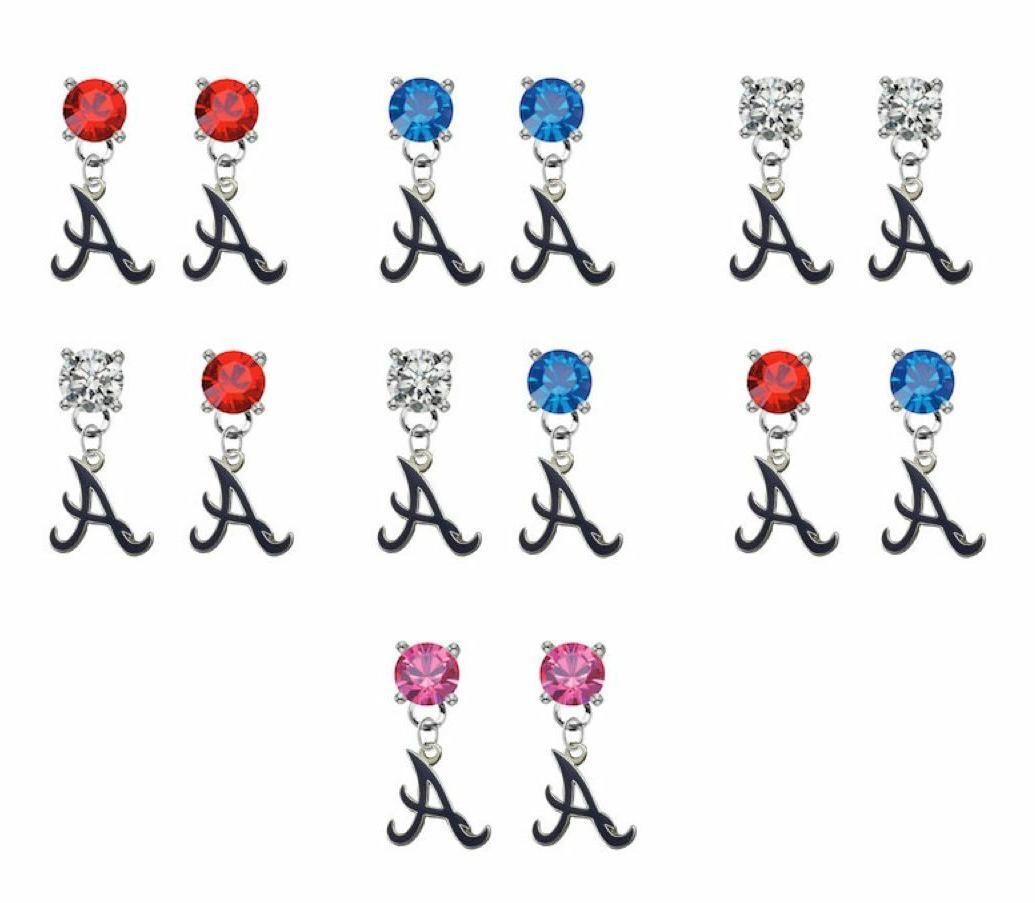 atlanta braves style 3 crystal earrings stud