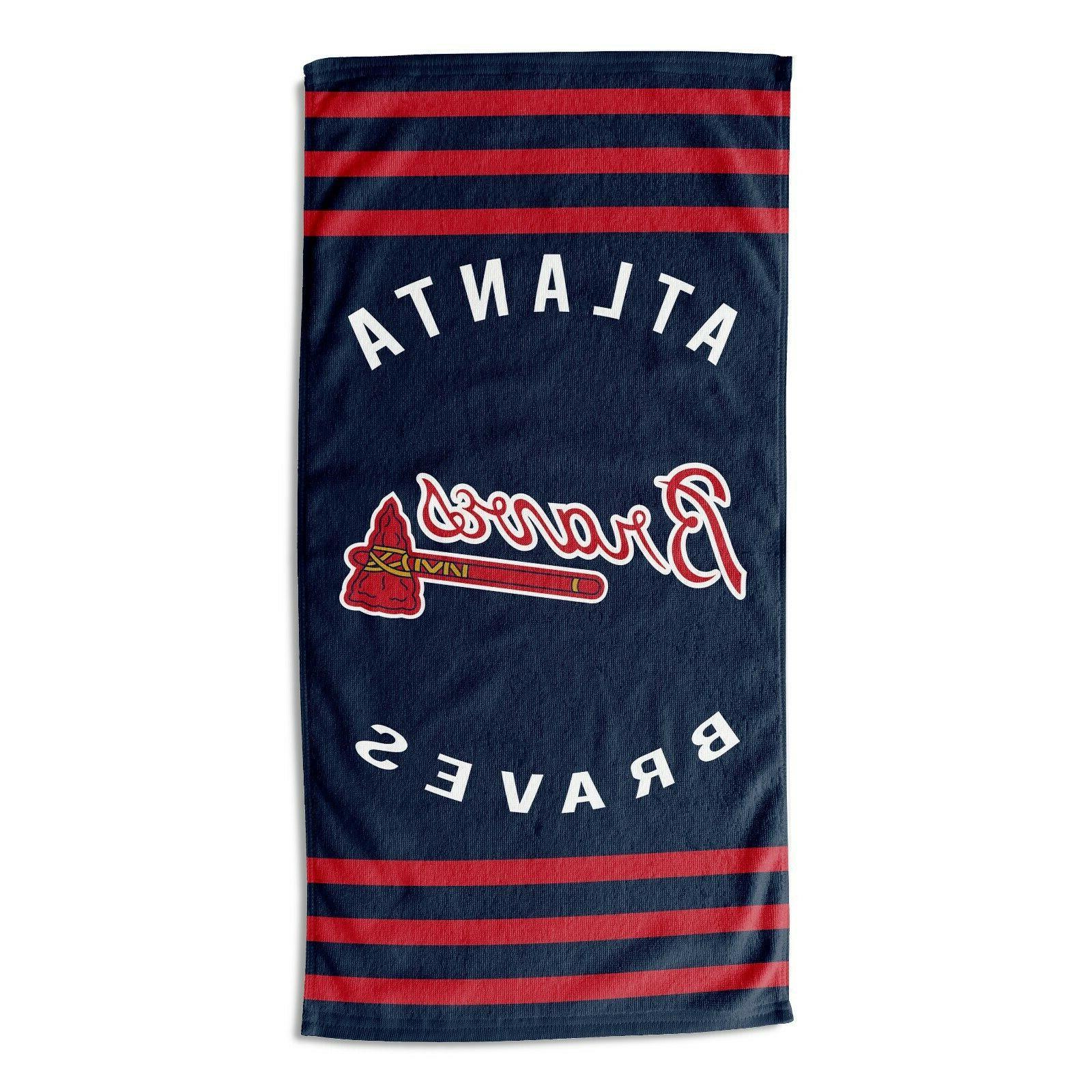 atlanta braves take off beach towel stripes