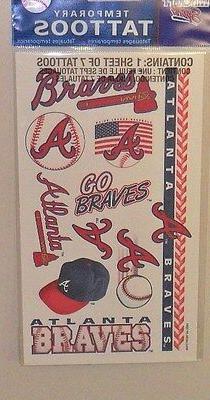 MLB ATLANTA BRAVES 1 SHEET 7 TEMPORARY TATTOOS  FREE SHIPPIN