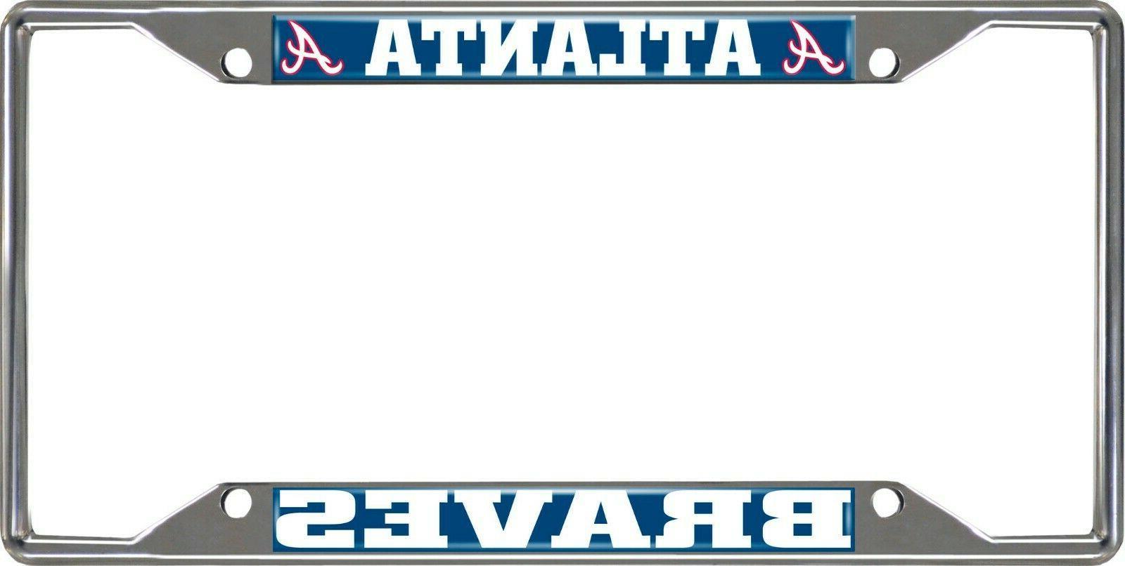 mlb atlanta braves chrome metal license plate