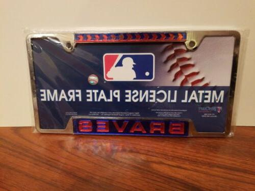 mlb atlanta braves metal license plate frame